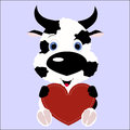 Icon cute cow calf holding a red heart frame on a blue backgroun Royalty Free Stock Photo