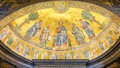 The icon on the dome with the image of Jesus Christ and the Apostles on a gold background in the catholic church cathedral basilic Royalty Free Stock Photo