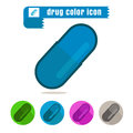 Icon drug capsule colorful design vector on white background Royalty Free Stock Photo