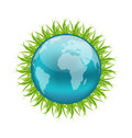Icon earth with grass environment symbol illustration vector Stock Images