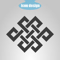 Icon endless knot on a gray background. Vector illustration. Buddhist symbol Royalty Free Stock Photo