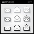 Icon envelope white for web Stock Images