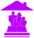 Icon with family, book and house Royalty Free Stock Photos