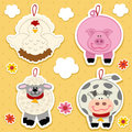 Icon farm animal vector set illustration chicken pig sheep cow Stock Photos