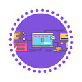 Icon Flat Style Viral Video and Social Marketing