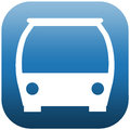 Icon front side bus blue illustration of the white of a Stock Photo