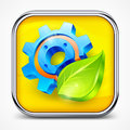 Icon with gear and leaf on white mechanical illustration Royalty Free Stock Photo