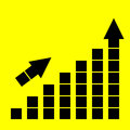Icon growth chart on yellow background Stock Images