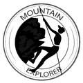 Icon of hiking a silhouette a woman a mountain within an Royalty Free Stock Photos