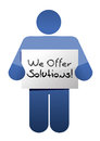 Icon holding a we offer solutions sign illustration design over white Stock Photo