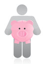 Icon holding a piggy bank illustration design over white background Stock Images