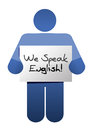 Icon holding a we speak english sign illustration design over white Royalty Free Stock Image