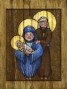Icon holy family painted tablet Royalty Free Stock Photos