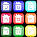 Icon of house on buttons Stock Photo
