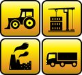 Icon with industrial objects set glossy black Stock Photography