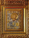 Icon of Jesus Christ in the orthodox church - Bujoreni Monastery, Romania Royalty Free Stock Photo