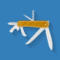 Icon of knife. Multi functional camping and hiking tool. Pocket equipment. Royalty Free Stock Photo