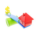 Icon like house and usa dollar sign on theseesaw mortgage leverage conception the different sides of the seesaw isolated white Royalty Free Stock Photos