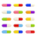 Icon like set of pills isolated on white colorful medical Stock Images