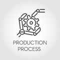 Icon in linear style of the robot arm collecting detail. Industrial modern equipment and production processing concept