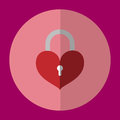 The icon is locked lock the key red heart. Can be used in various tasks.