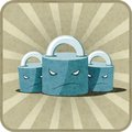 Icon with locks vector vitage illustration of three Royalty Free Stock Images