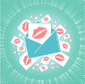 Icon of love envelope with kisses.