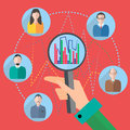 Icon magnifier, people, graph Royalty Free Stock Photo