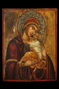 Icon of mother of god antique orthodox mary and child jesus christ painted on wooden board Royalty Free Stock Photos