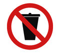 Icon not throw rubbish Royalty Free Stock Photo