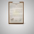 Icon for notepad for economic single brown with sample text and graphs on gray background Royalty Free Stock Photo