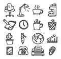 Icon office hand drawn vector set art illustration