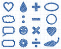 Icon pen style mix doodle illustration collection sign Stock Photo