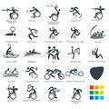 Icon pictograms set vector illustration summer games sport flat concept design stick figure Royalty Free Stock Photography