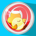 The icon picture a cockerel in  red cap to sleep new year and Christmas  symbol  rooster chicken the button reflection Royalty Free Stock Photo
