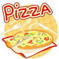Icon with pizza on a napkin vector illustration Stock Photos