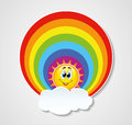 Icon of rainbow sun and cloud with copyspace Stock Photography