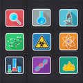 Icon science set of icons with symbols of and medicine Stock Images