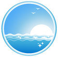 Icon with sea wave sun and seagull blue Stock Photo