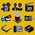 Icon set. 3d movie devices. Stock Photos
