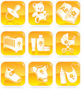 Icon set - baby goods, items Stock Photos