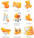 Icon set - baby goods, items. Royalty Free Stock Photo