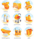 Icon set - baby items. Aqua Royalty Free Stock Photo