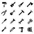 Icon set of black simple silhouette of work tools in flat design Royalty Free Stock Photo