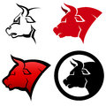 Icon set of bull heads Royalty Free Stock Photo