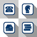 Icon set business flat design contact strategy home and education Royalty Free Stock Image
