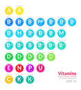 Icon set of button with all vitamins. Medical vector illustration. Pills capsule with color coding for your design