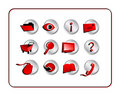 Icon Set with clipping paths - Red Royalty Free Stock Photo