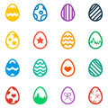 Icon set of colored Easter eggs Holiday icon Royalty Free Stock Photo