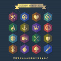 Icon set with crown shield arrow gear Royalty Free Stock Image